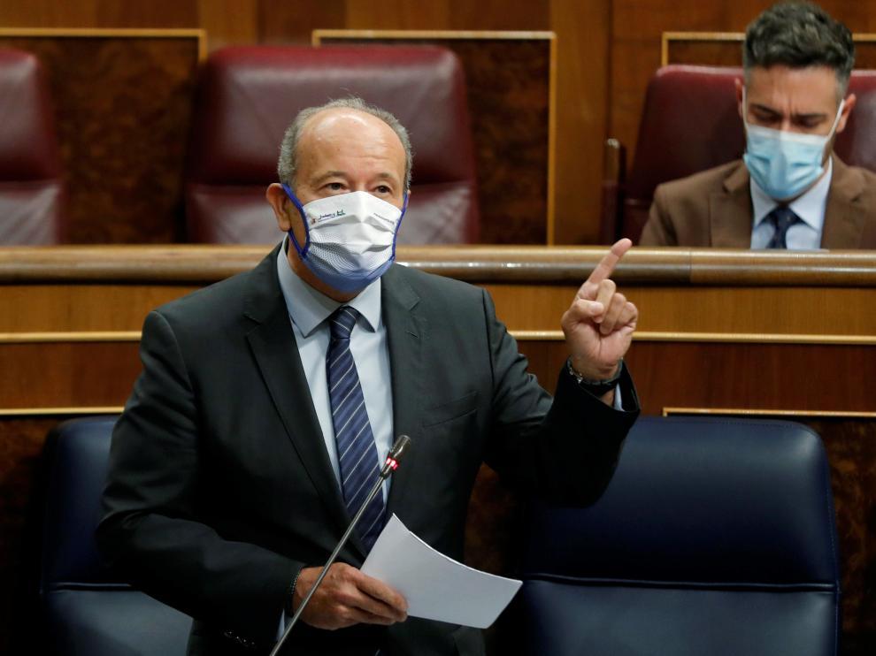 El ministro de Justicia, Juan Carlos Campo, en la sesión de control al Gobierno en el Congreso