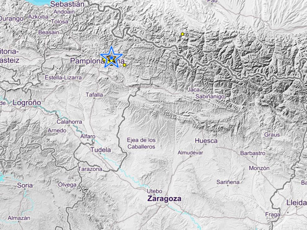 Lugar del epicentro del terremoto