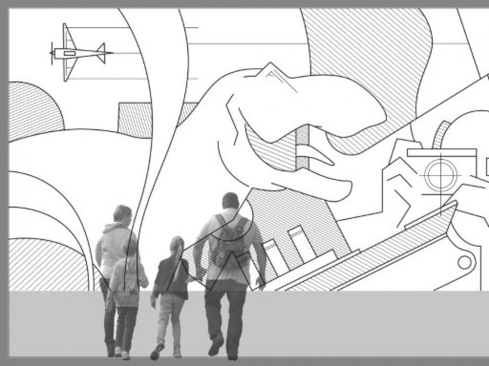 Detalle de uno de los murales que instalará Julián García en los cines de Artesiete en La Torre Outlet