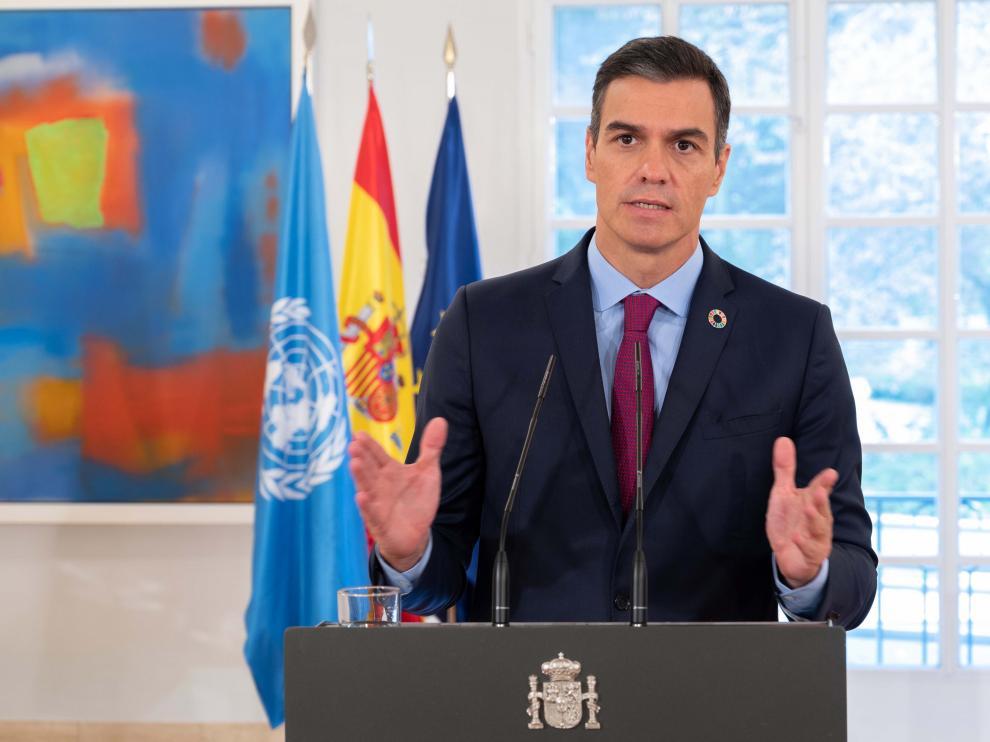 Pedro Sánchez, durante su discurso en la ONU grabado en la Moncloa.