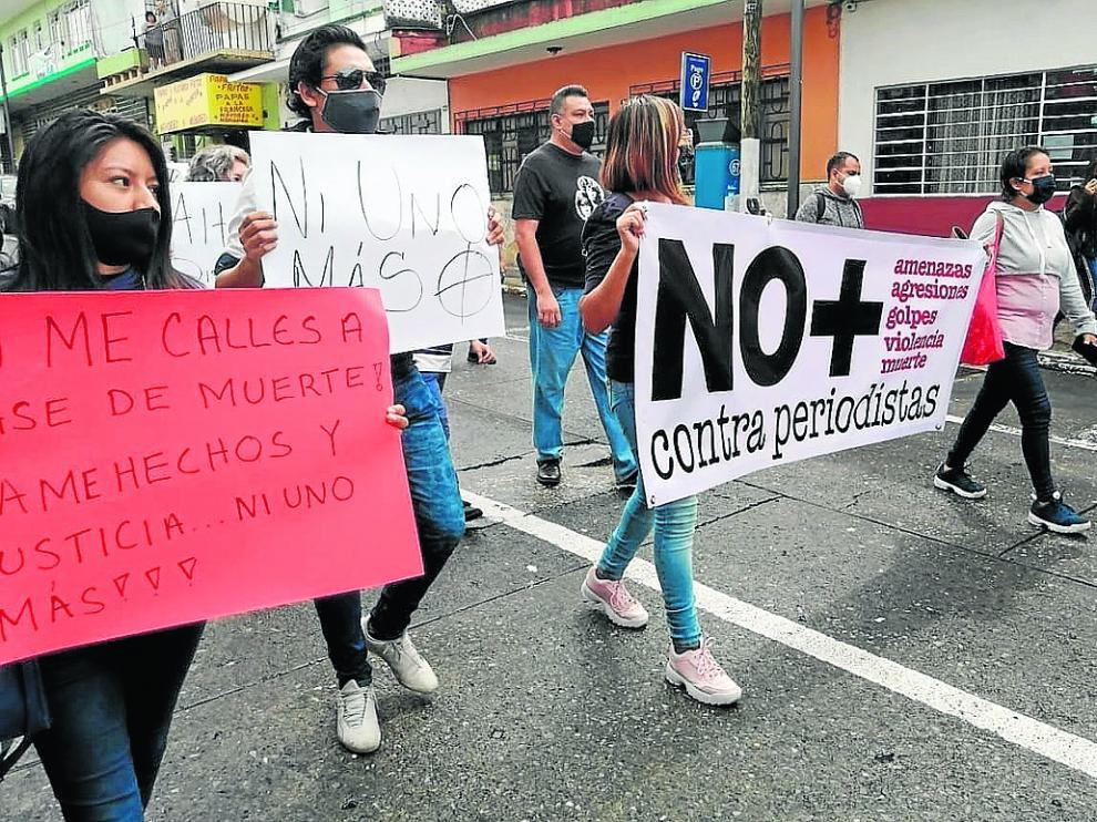 Protesta de periodistas el jueves pasado en Veracruz, México, por el asesinato de un compañero.