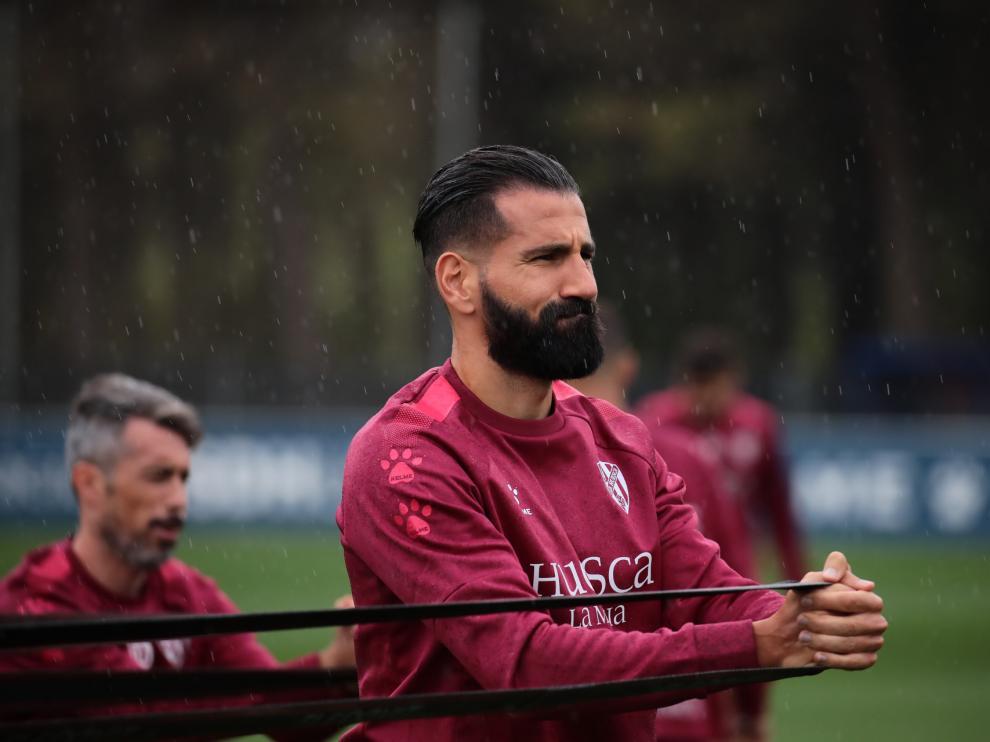 Dimitrios Siovas, durante un entrenamiento con la SD Huesca.