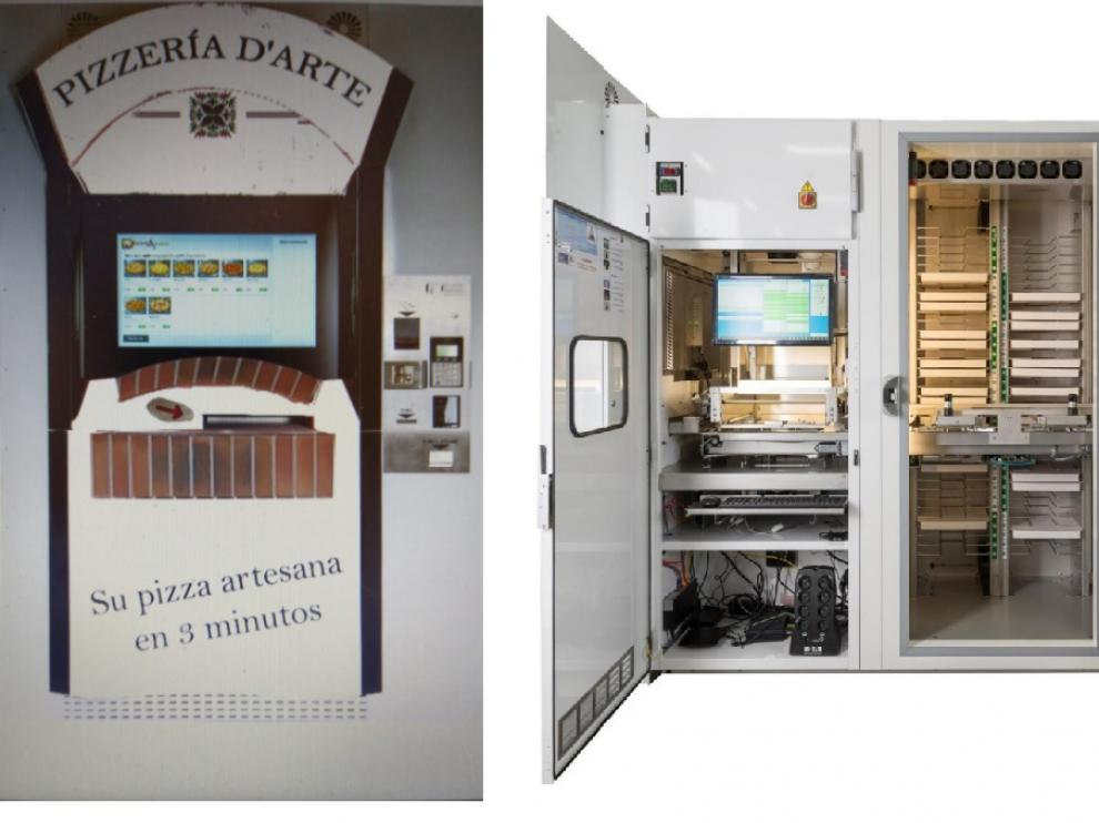A la izquierda, un boceto del frontal de la instalación. A la derecha, el interior de un modelo real de máquina expendedora de pizzas.