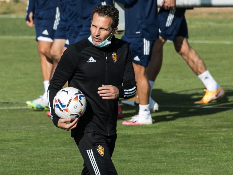 Baraja, durante el último entrenamiento del Real Zaragoza.