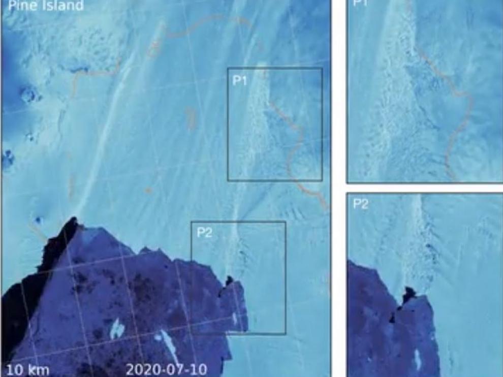 Imágenes de las grietas en los glaciares de la isla Pine, en la Antártida.