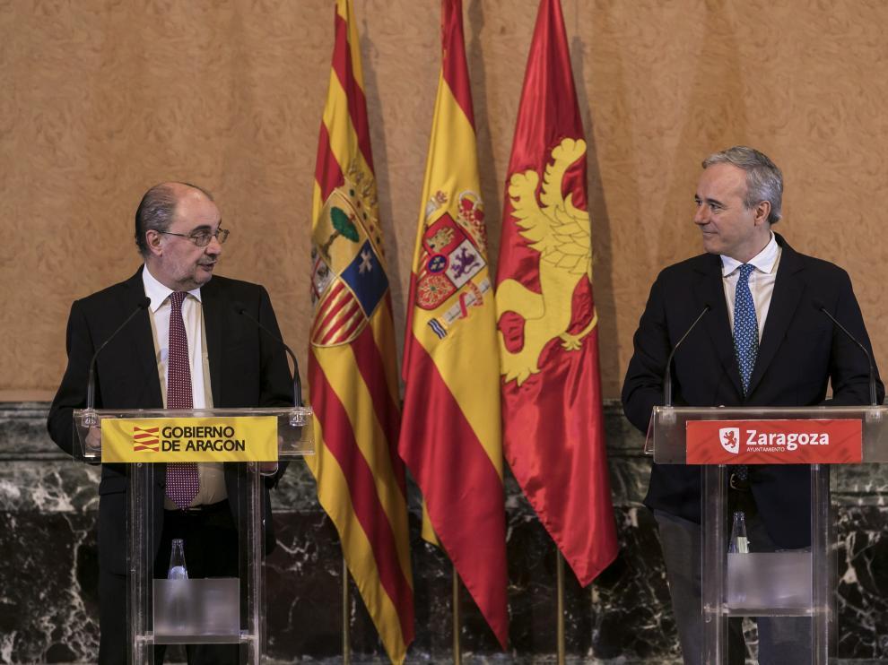 Javier Lambán y Jorge Azcón, tras la celebración del consejo bilateral de marzo.
