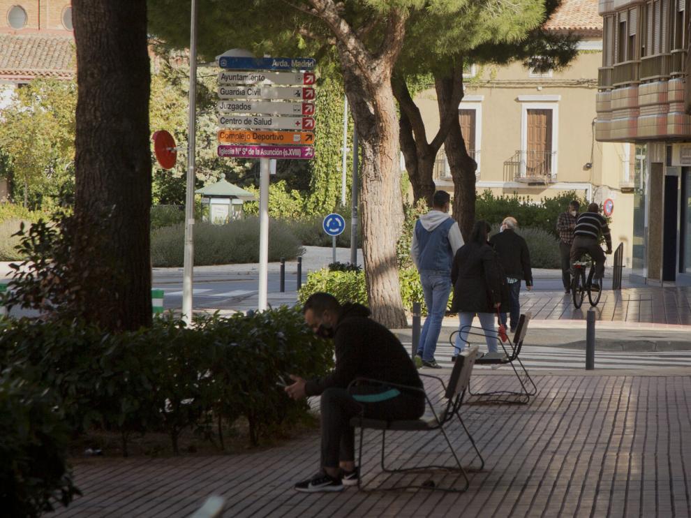 Las calles de La Almunia, ayer horas después de anunciarse el confinamiento perimetral