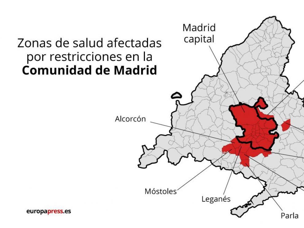 Mapa con municipios de Madrid con restricciones
