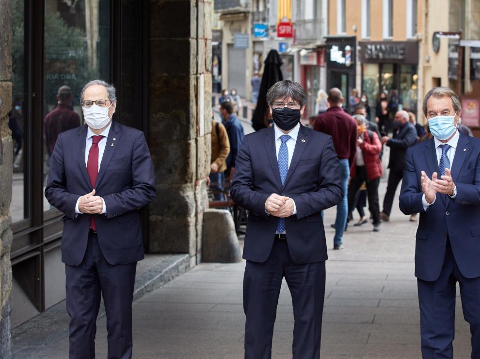 Torra, Puigdemont y Mas en Perpignan