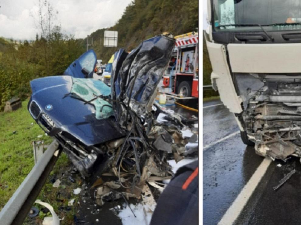 Una imagen del accidente mortal ocurrido este miércoles en Navarra, en el que se vio implicado un conductor menor de edad.
