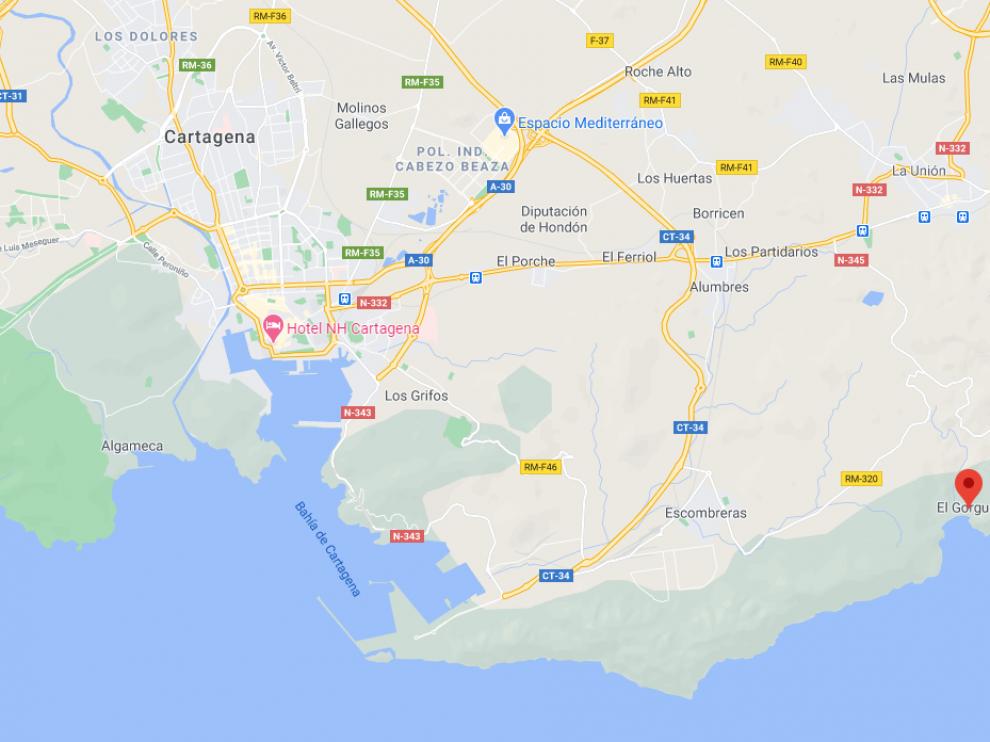 Diez migrantes fueron localizados en la playa del Gorguel, cerca de Cartagena.