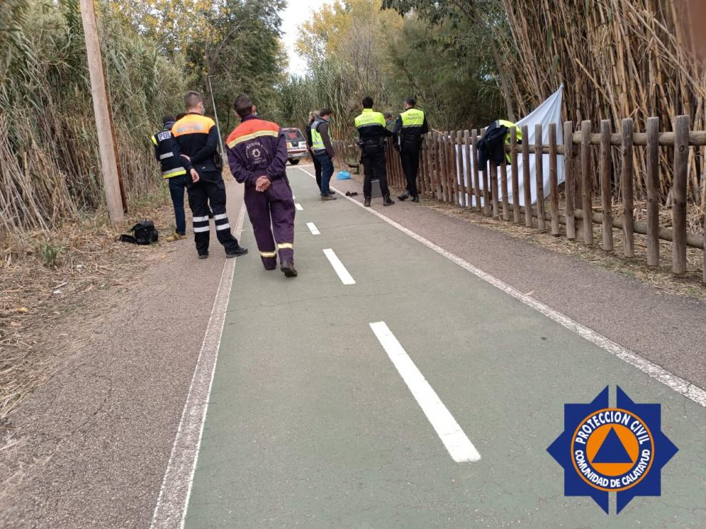 Protección Civil rescata el cadáver del río Jalón.