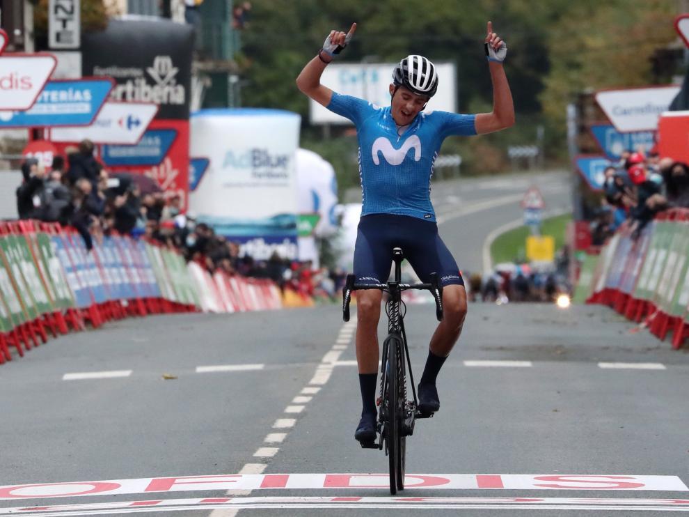 El español Marc Soler (Movistar) se ha impuesto en solitario en la segunda etapa de la Vuelta a España disputada entre Pamplona y Lekunberri,