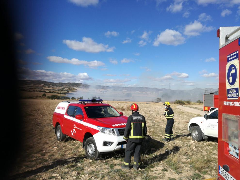 Bomberos de la Diputación de Teruel en la escombrera de Mas de las Matas