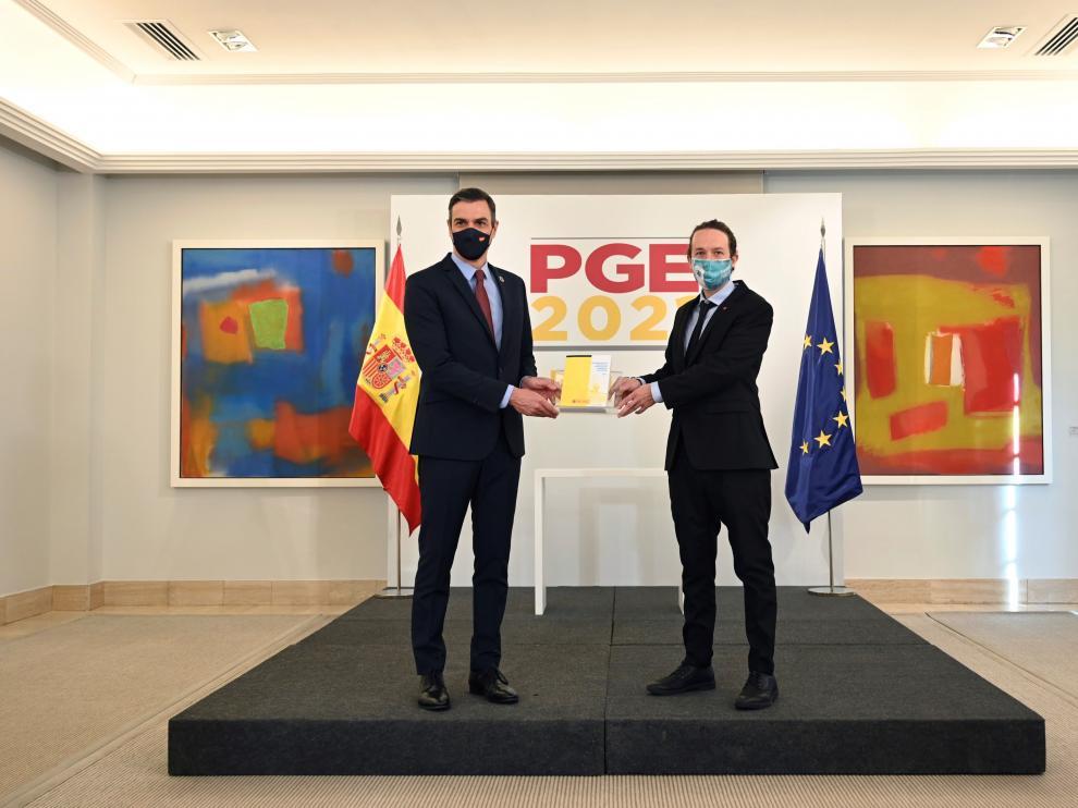 Pedro Sánchez y Pablo Iglesias presentan el proyecto de Presupuestos antes de ser aprobado en Consejo de Ministros