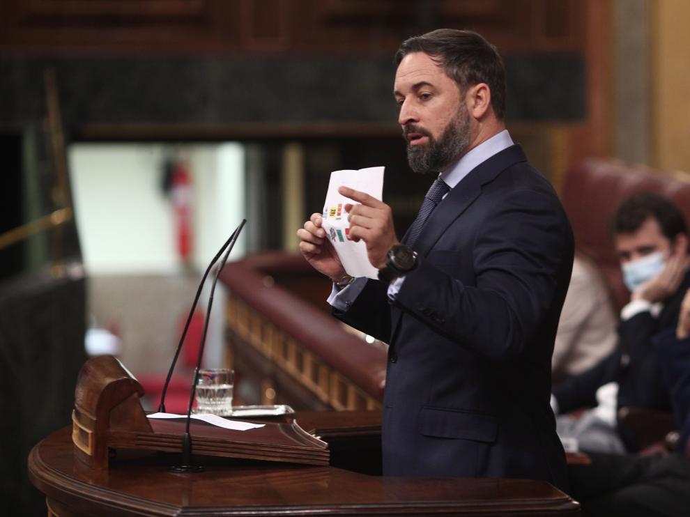 Santiago Abascal durante el debate de la moción de censura de Vox.