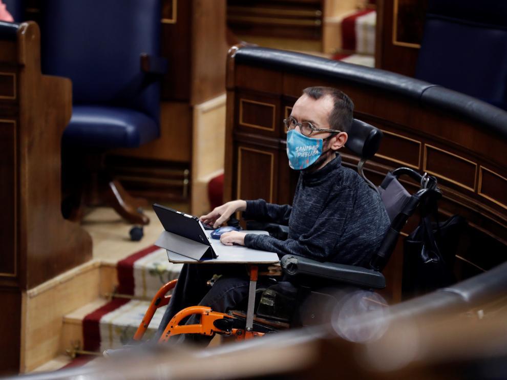 Pablo Echenique, en el Congreso durante el debate sobre el estado de alarma.