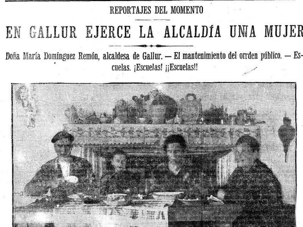 Entrevista a María Domínguez en Gallur firmada por Mario Alegría en octubre de 1932