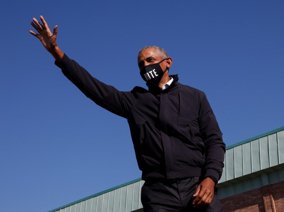 Barack Obama, antes de su discurso de apoyo a Joe Biden en Flint, Michigan.