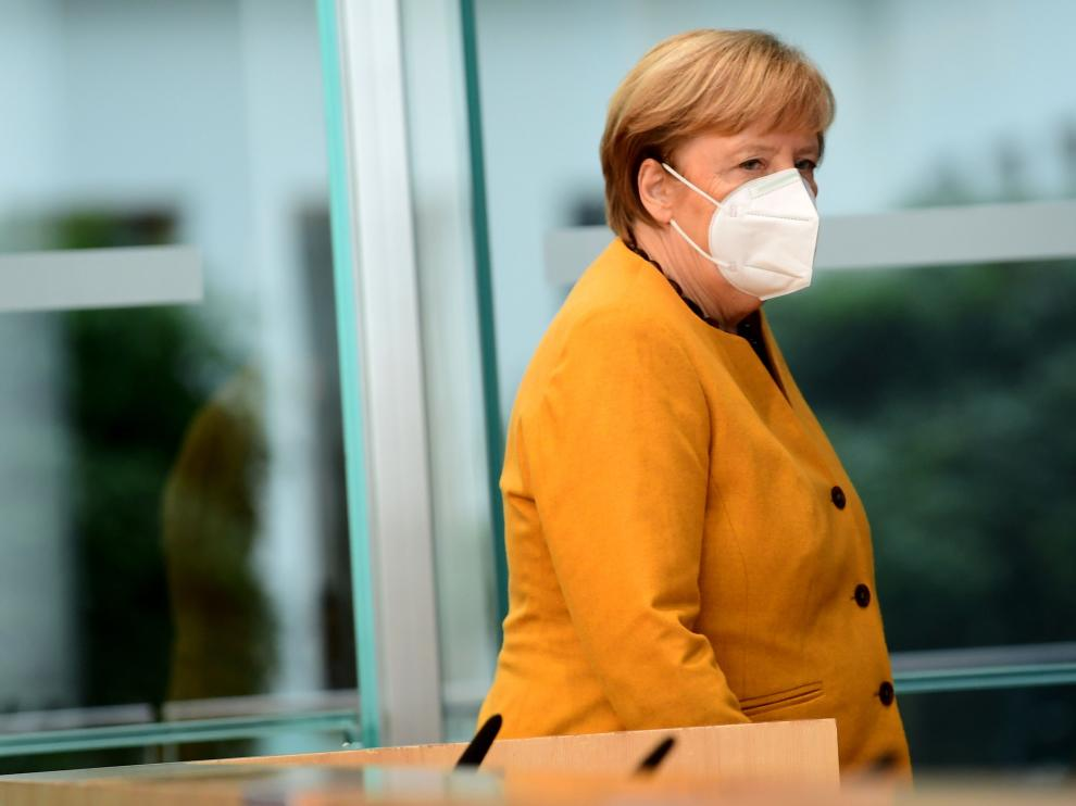 Presser Chancellor Merkel after a meeting of the Corona Cabinet