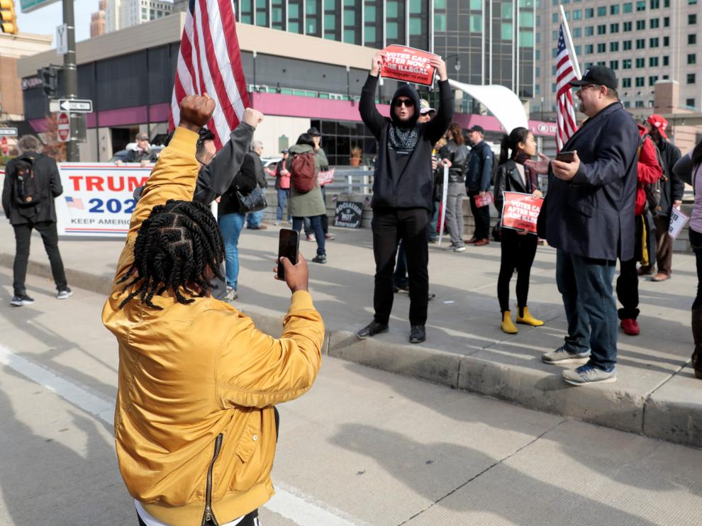 Supporters of U.S. President Donald Trump protest outside the TCF Center, in Detroit