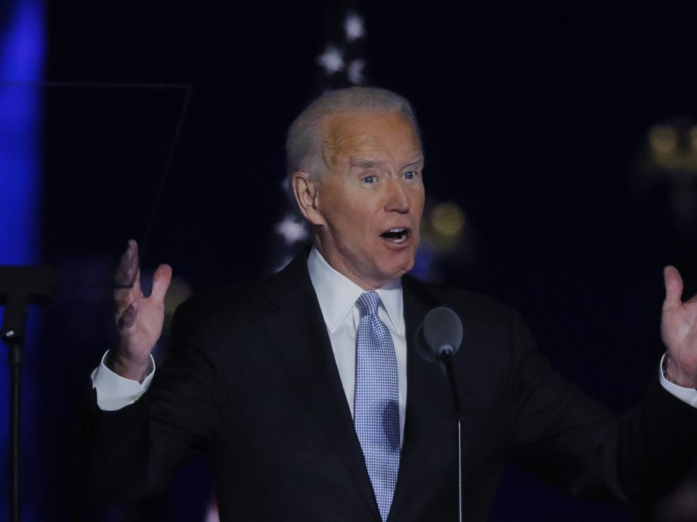 Democratic 2020 U.S. presidential nominee Joe Biden speaks at his election rally, after the news media announced that Biden has won the 2020 U.S. presidential election over President Donald Trump, in Wilmington, Delaware, U.S., November 7, 2020. REUTERS/Jim Bourg [[[REUTERS VOCENTO]]] USA-ELECTION/BIDEN