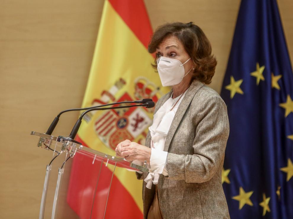 Carmen Calvo en el acto del Observatorio Mujeres, Ciencia e Innovación