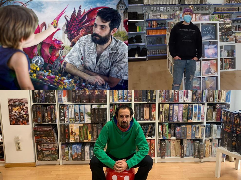Arriba, izquierda, Adrián Gascón, de Odisea Games, y a la derecha, Javi Tena, dueño de Quinto Elemento. Abajo, Alex Yus, propietario de la tienda Doctor Ocio.