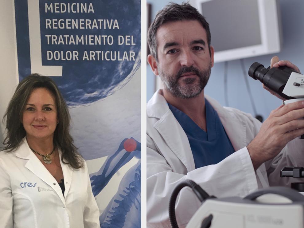 Los doctores Lapuente y Guallar de las Clínicas Cres Phisiup.