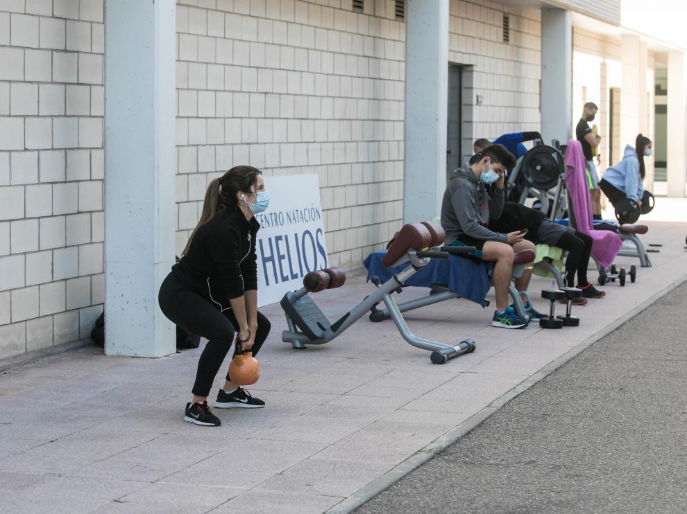 HERALDO .ES. Helios. Los gimnasios sacan su material a la calle./ 17-11-2020 / FOTO: GUILLERMO MESTRE[[[FOTOGRAFOS]]]