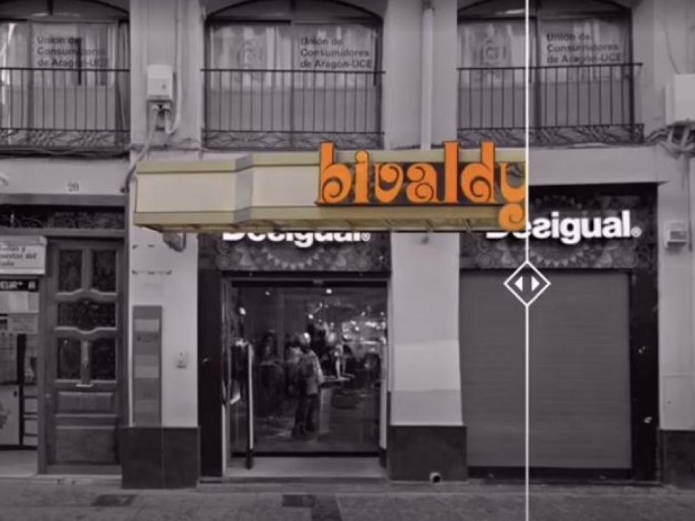 Un fotograma del 'antes y después' de la tienda Bivaldy de la calle de Alfonso de Zaragoza.