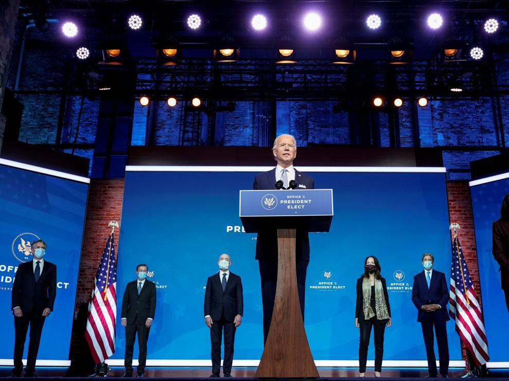 Biden presentando al equipo que le acompañará en su mandato