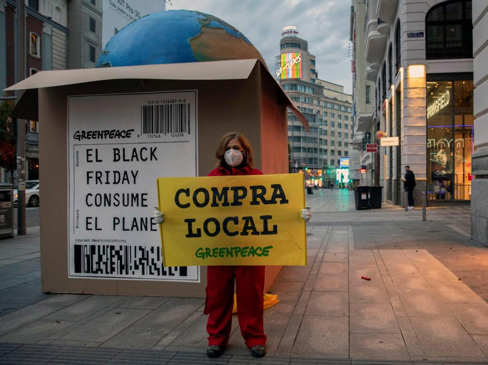 Instalación de Greenpeace en Madrid