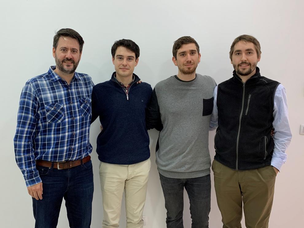 De izquierda a derecha, Eduardo Navarro; Mario Miravete, Jorge Morte y Mateo Cámara, creadores de Pikckgeo.