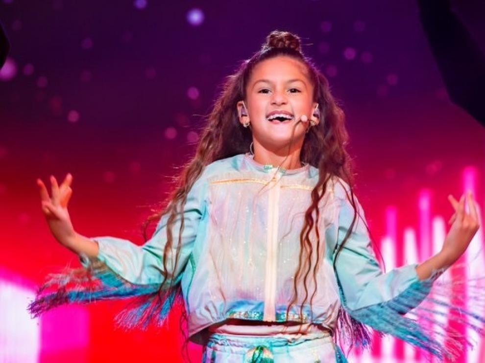 Soleá, durante su actuación en Eurovisión Junior