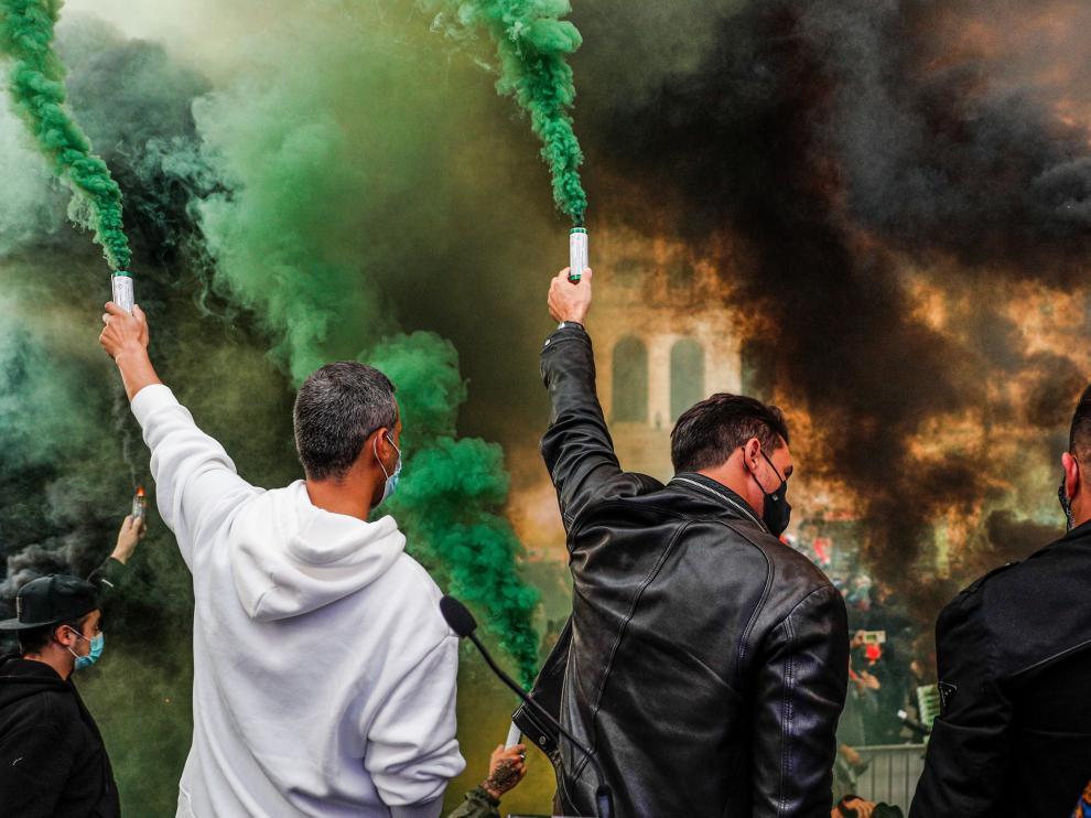Protestas en Lisboa contra las restricciones.
