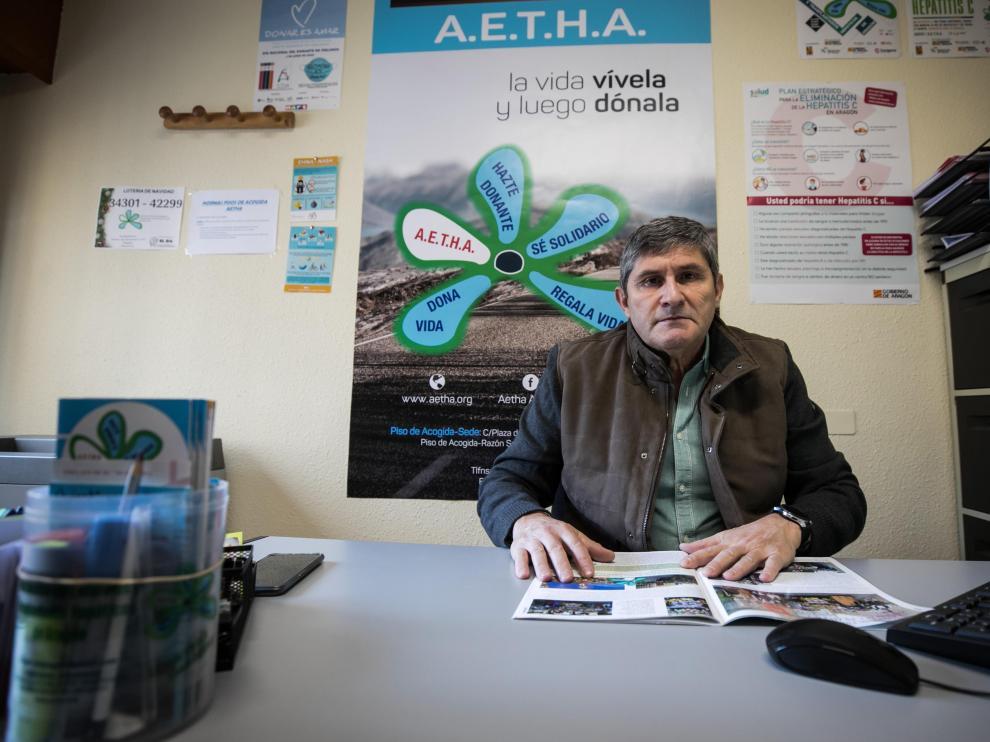 Javier Arredondo, presidente de la Asociación de Enfermos y Trasplantados Hepáticos de Aragón (Aetha).
