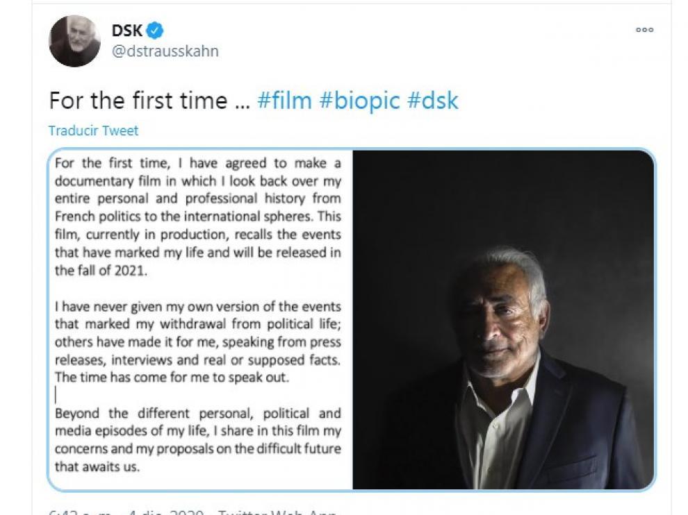 Carta de Dominique Strauss Kahn en Twitter.