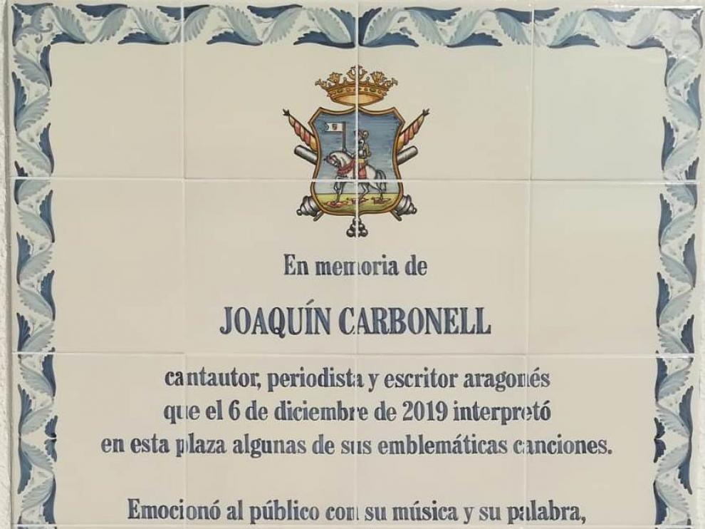Placa que recuerda la última visita de Joaquín Carbonell a Ejea de los Caballeros.