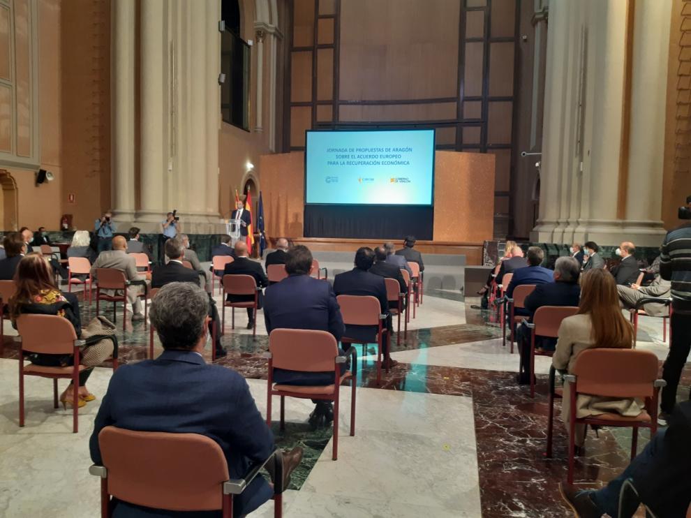 Jornada de presentación de proyectos para acceder a los fondos europeos en la sede del Gobierno de Aragón el pasado septiembre.