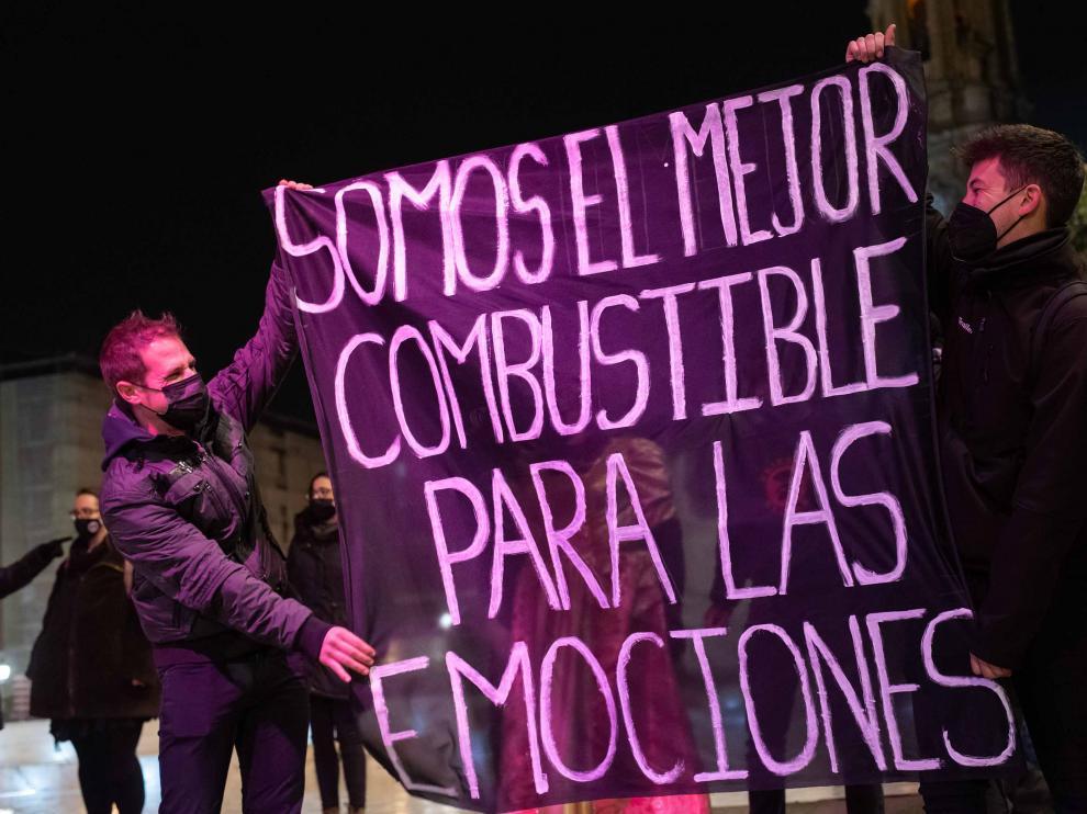 Concentración del sector de los espectáculos en Zaragoza.