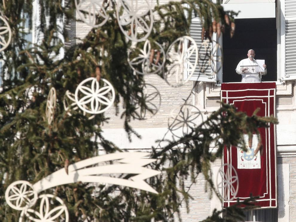 Pope Francis during the Angelus prayer in St. Peter's Square