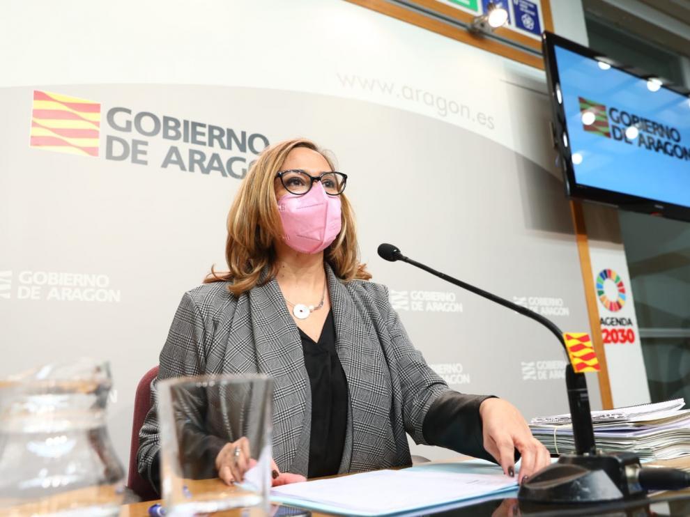 La consejera de Presidencia, Mayte Pérez, este miércoles tras el Consejo de Gobierno