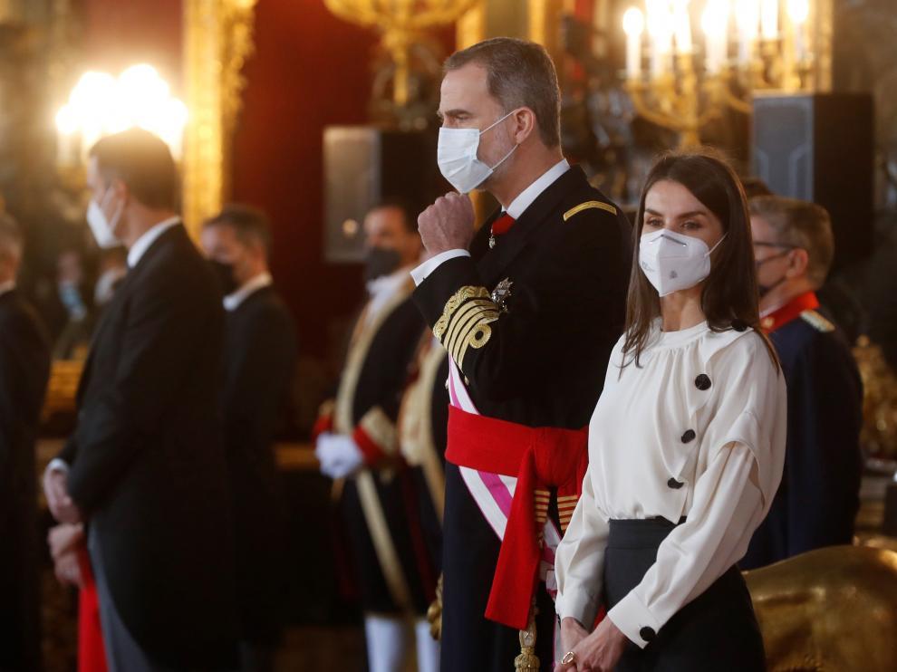 El Rey Felipe VI y la Reina Letizia en la Pascua Militar, a 6 de enero de 2021...CASA REAL..06/01/2021[[[EP]]] El Rey Felipe VI y la Reina Letizia en la Pascua Militar, a 6 de enero de 2021.