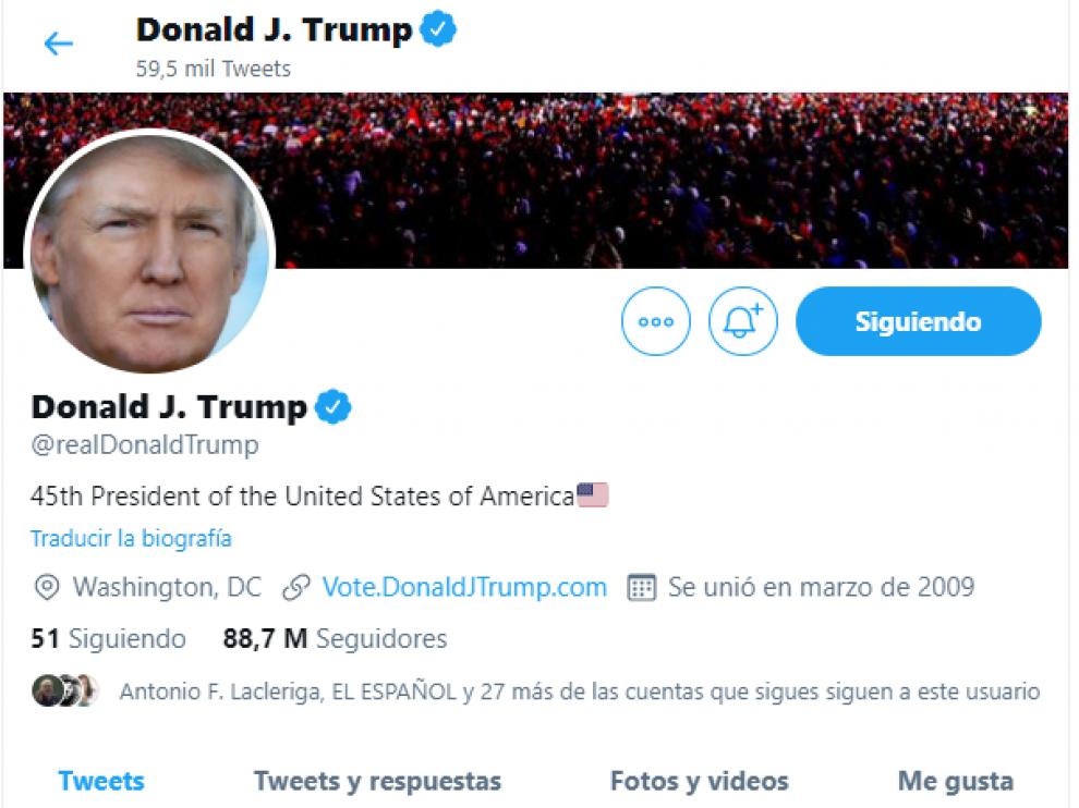 Imagen de la cuenta de Trump, con los tuits eliminados