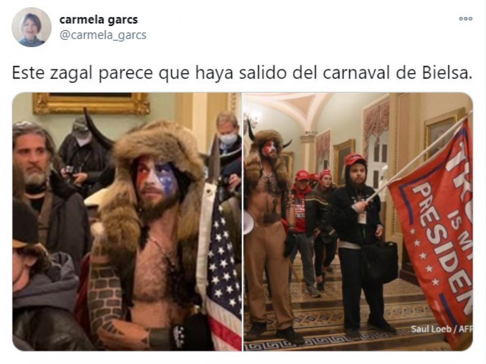 Uno de los tuits que compara a uno de los protagonistas del asalto al Capitolio con los populares personajes del Carnaval de Bielsa.