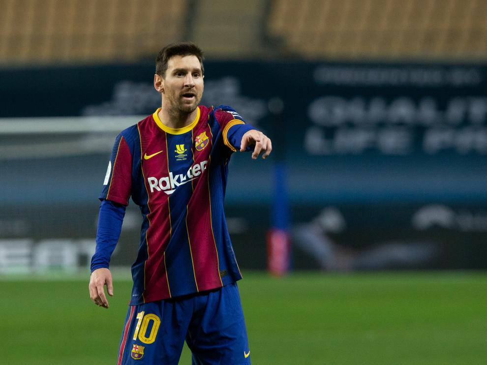 Messi, en la final de la Supercopa entre el FD Barcelona y el Athletic