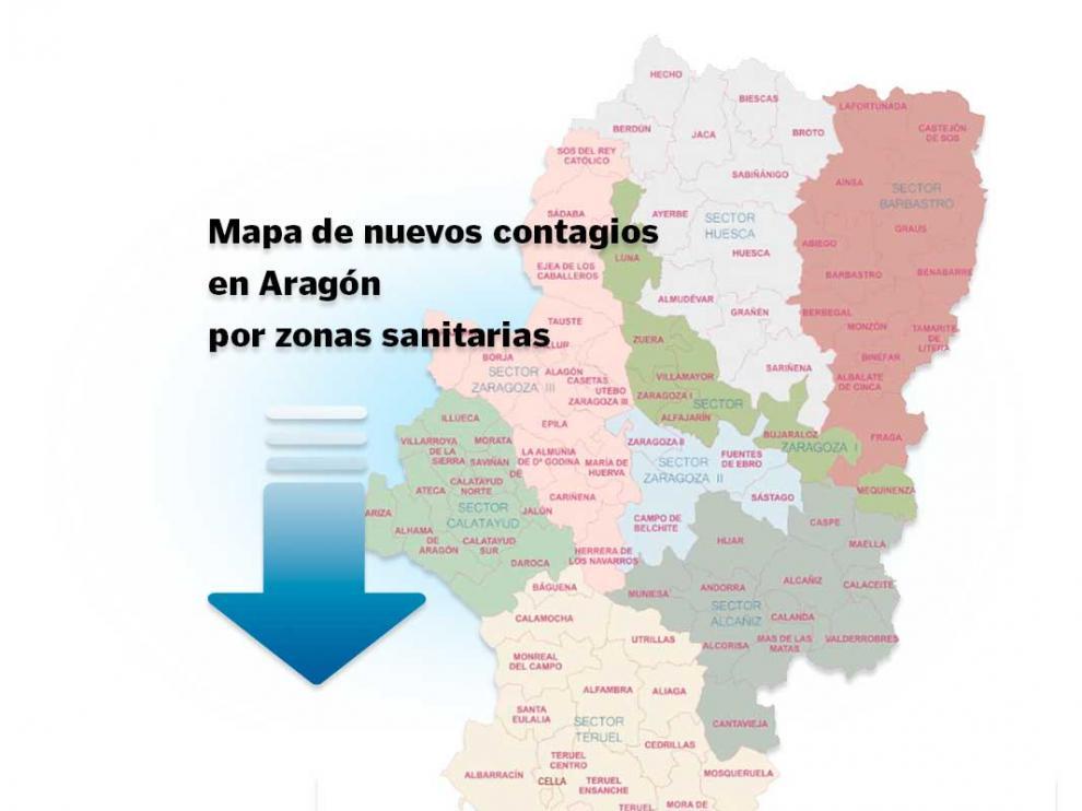 Mapa de Aragón con los casos de coronavirus en las últimas 24 horas