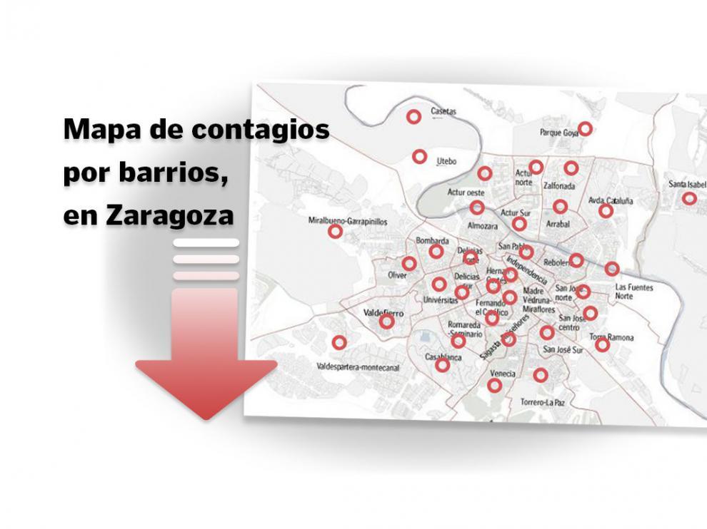 Mapa del coronavirus en los barrios de Zaragoza.