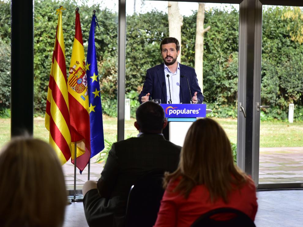 El presidente popular, Pablo Casado, en el acto del sábado en Barcelona.